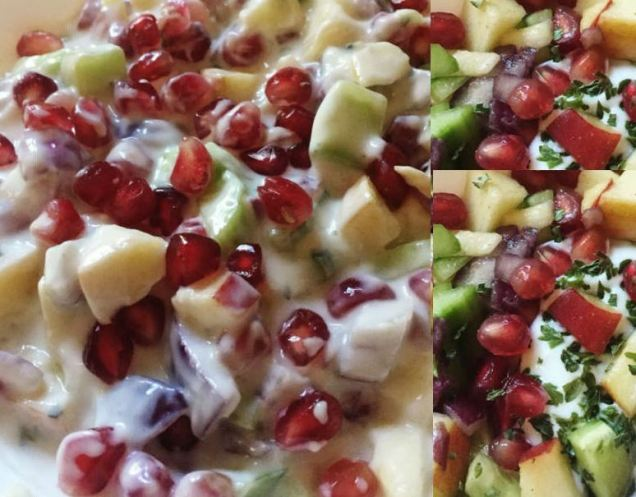 Cucumber Raitha Apples and Pomogranet Salad Recipe