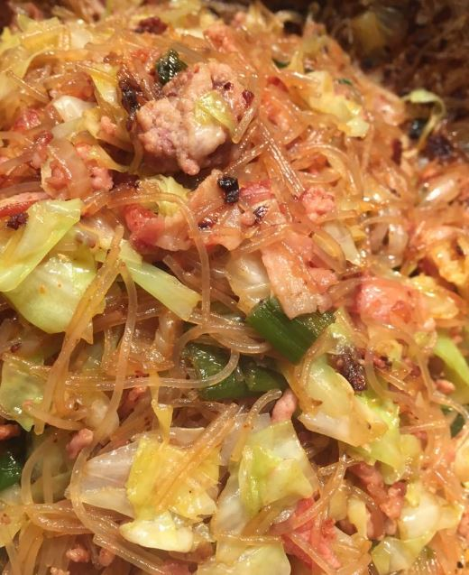 Glass Noodles with Shredded Cabbage Mince Meat Recipe