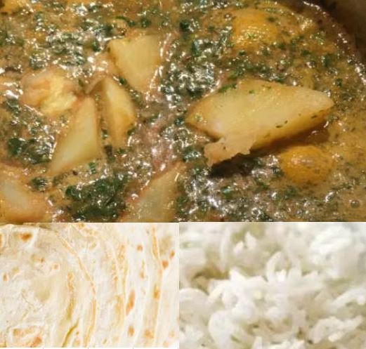 Saag Aloo Spinach Potato Curry with Chapati or Rice Recipe