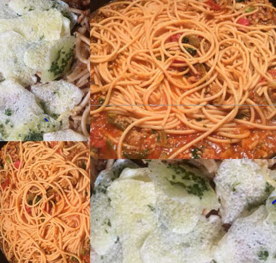 Spaghetti Recipe with Cheese Chips